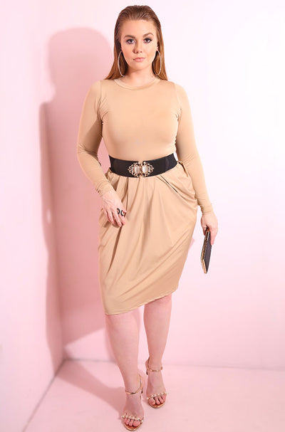 Nude Long sleeve draped midi dress plus sizes