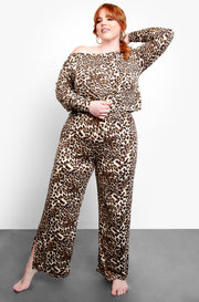 Brown Over The Shoulder Leopard Top Plus Sizes