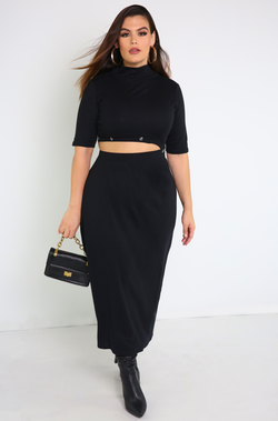 Black Button Detail A-Line Dress Plus Sizes