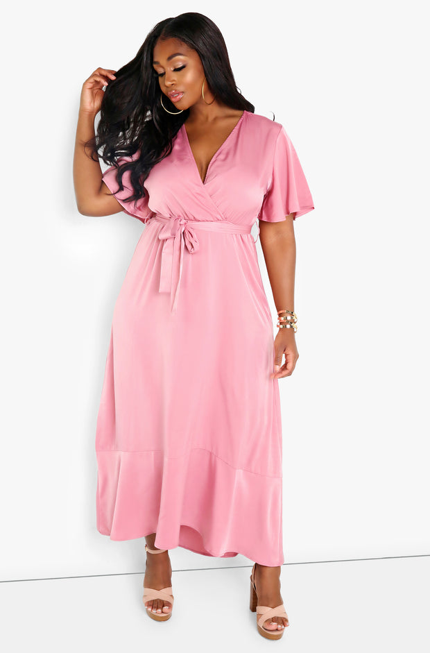 Coral Flutter Sleeve Maxi Dress Plus Sizes