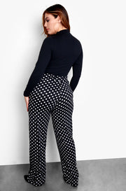 Black Polka Dot Wide Leg Pants