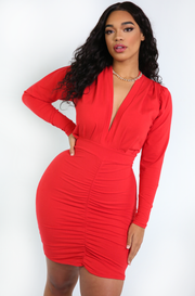 Red Plunge Ruched Mini Dress Plus Sizes
