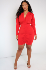 Red Plunge Ruched Mini Dress
