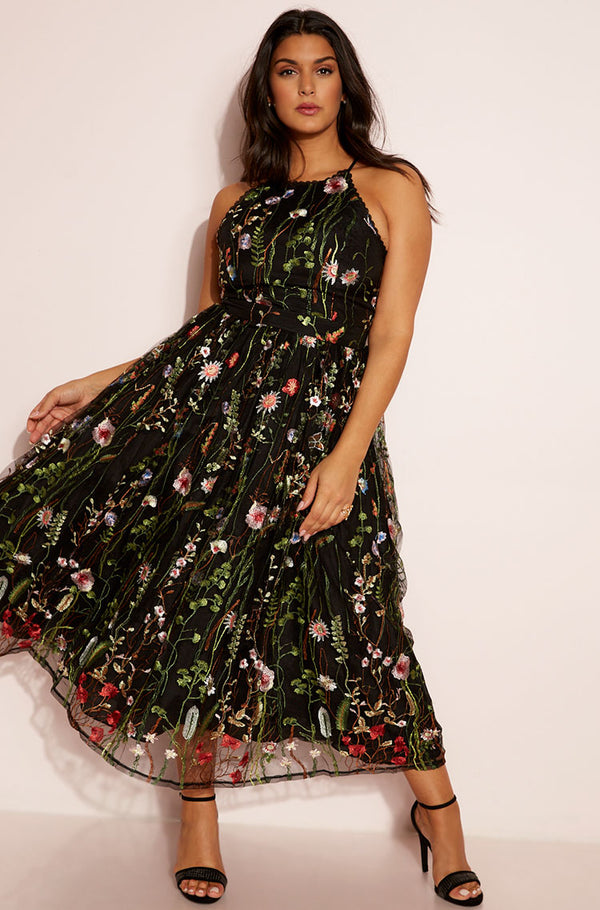 Black Embroidered Skater Maxi Dress plus sizes
