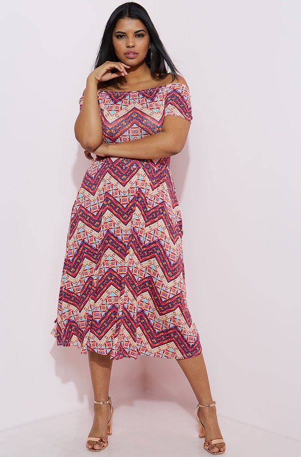 Burgundy Over The Shoulder Midi Dress plus sizes