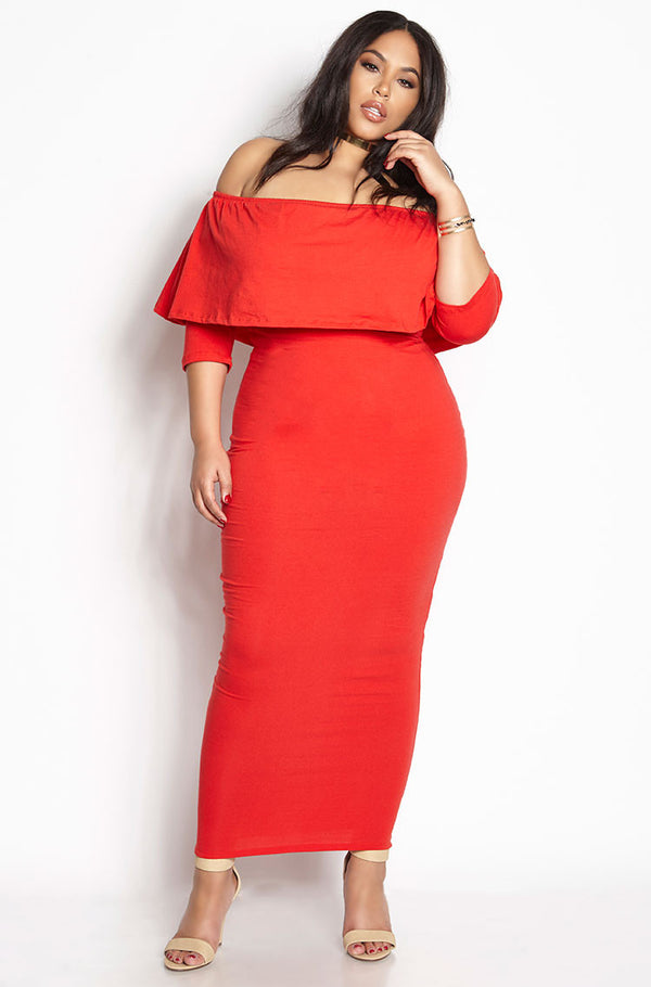 Red Ruffled Bodycon Maxi Dress plus sizes