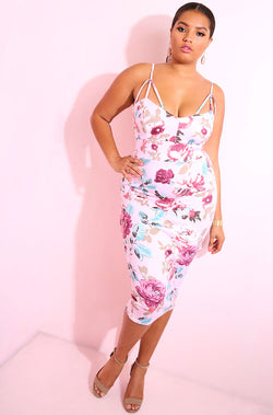 Pink Caged Floral Bodycon Midi Dress plus sizes