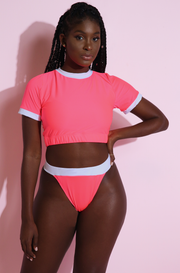 Neon Pink Crew Neck Swim Top Plus Sizes
