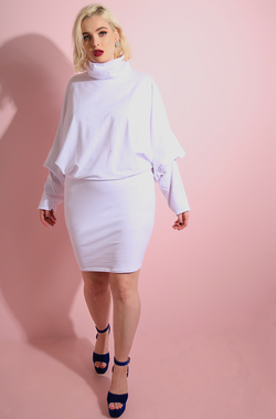 White Turtleneck Oversized Bodycon Mini Dress plus sizes