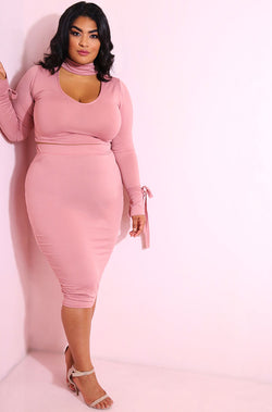 Blush Bodycon Midi Skirt plus sizes