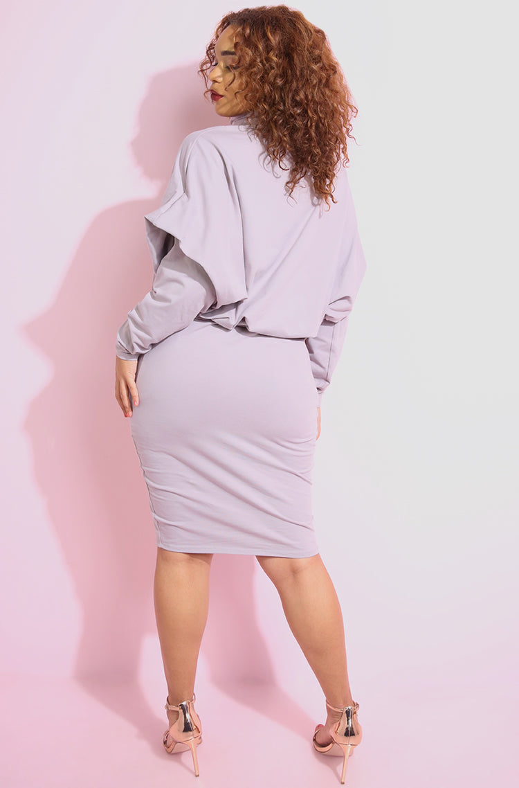 Pale Purple Turtleneck Oversized Bodycon Mini Dress plus sizes