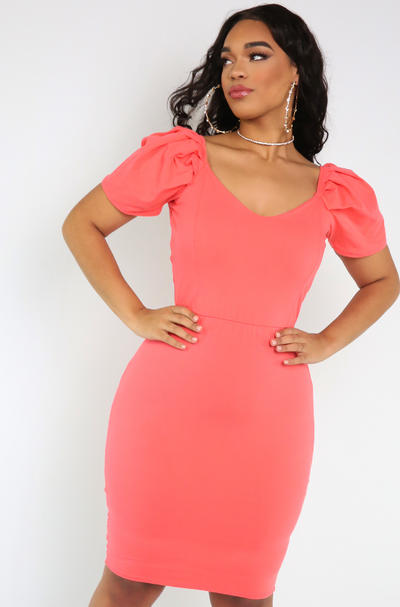 Coral Puff Sleeve Bodycon Mini Dress