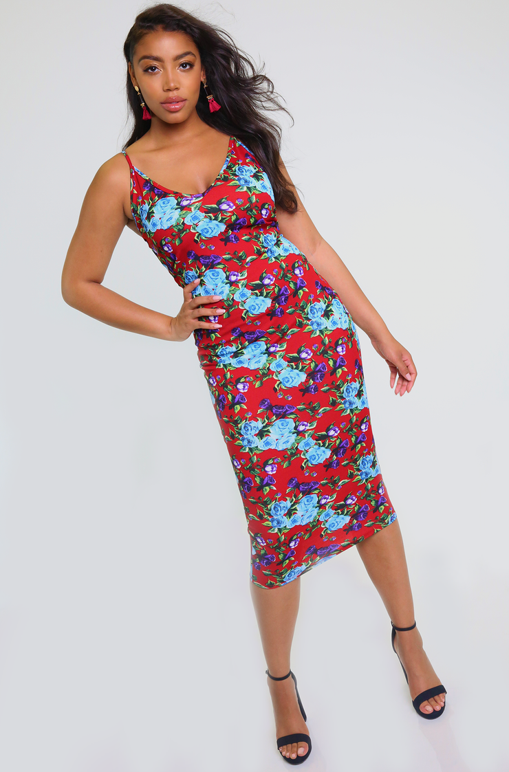 Blue Strappy Bodycon Midi Dress Plus Sizes