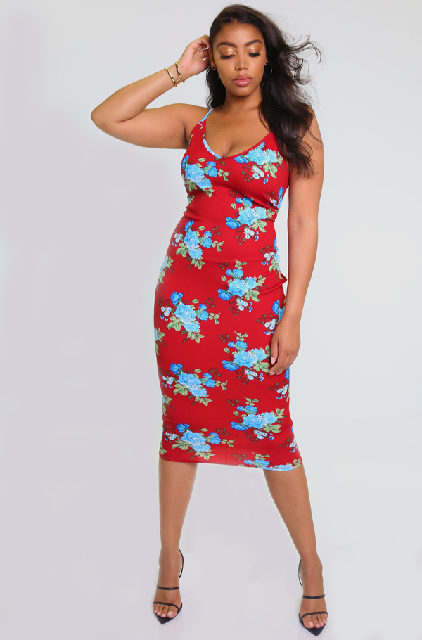 Red Strappy Bodycon Midi Dress Plus Sizes