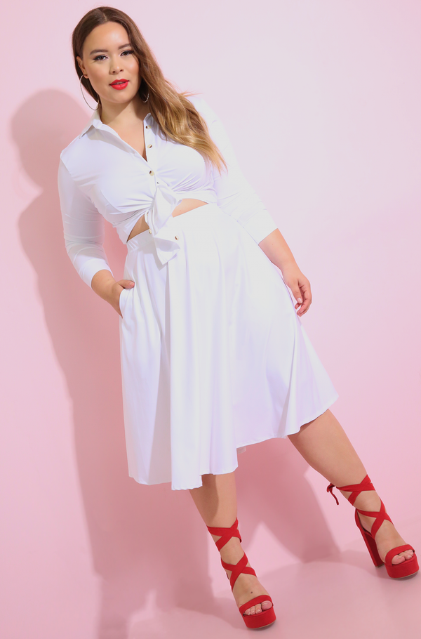 White Midi Skater Skirt With Pockets plus sizes