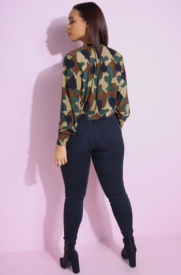 Olive Camo Long Sleeve Crop Top plus sizes
