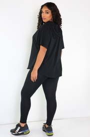 Black Hooded Relaxed Fit Top Plus Size