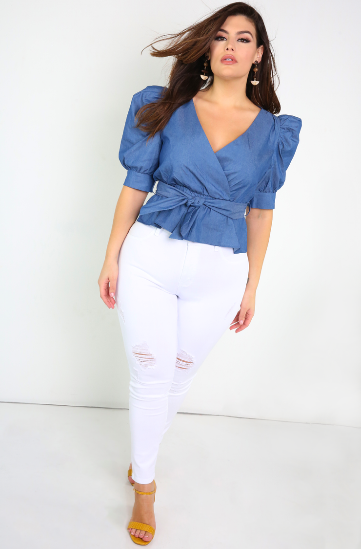White High Waist Ripped Jeans Plus Sizes