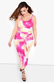 Pink Tie Dye Maxi Skirt Plus Sizes
