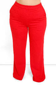 Red Textured Wide Leg Pants w. Pockets Plus Sizes