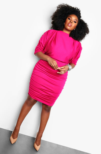 Fuchsia Ruched Sleeve Plus Size Bodycon Mini Dress