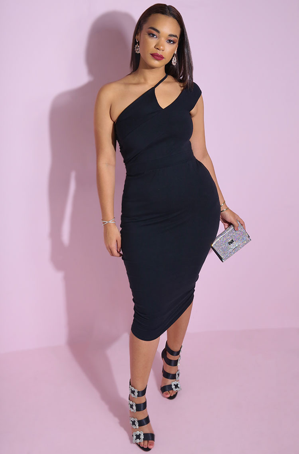 Little black dress. Asymmetrical Neckline Bodycon Midi Dress plus sizes