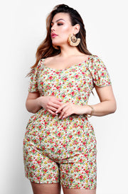 White Floral Mini Jumper Plus Sizes