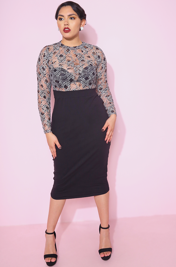 Black Lace Sleeve Bodycon Midi Dress plus sizes