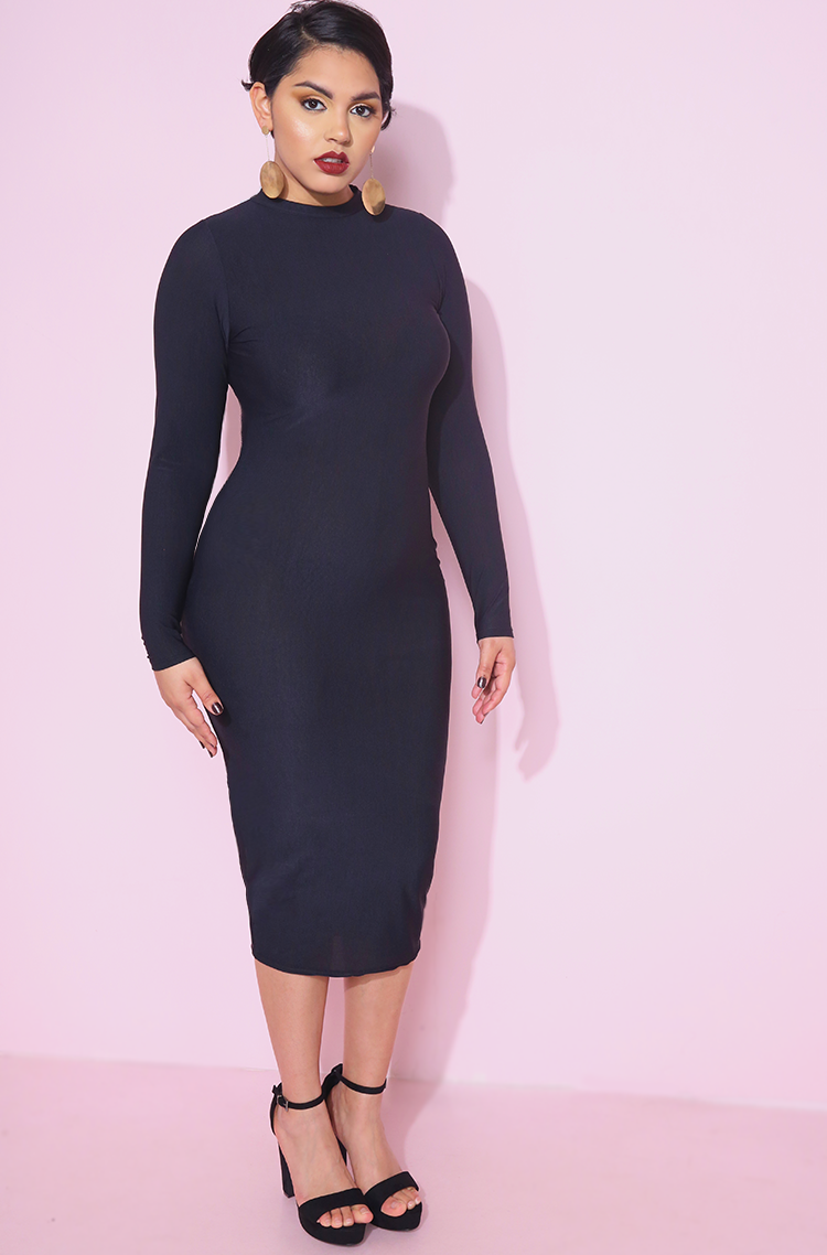 Black Semi-Sheer Spandex Bodycon Midi Dress plus sizes