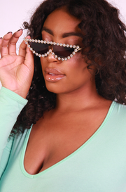 Black  Cat Eye Pearled Sunglasses
