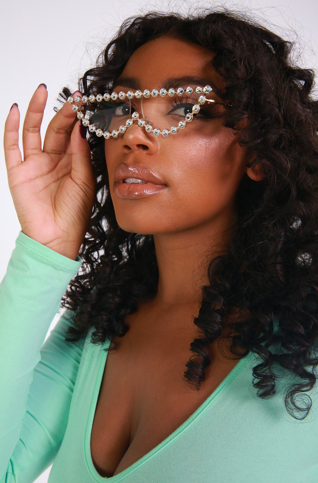 Clear Cat Eye Pearled Sunglasses