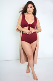 Burgundy High Waisted Swimsuit Bottoms Plus Sizes