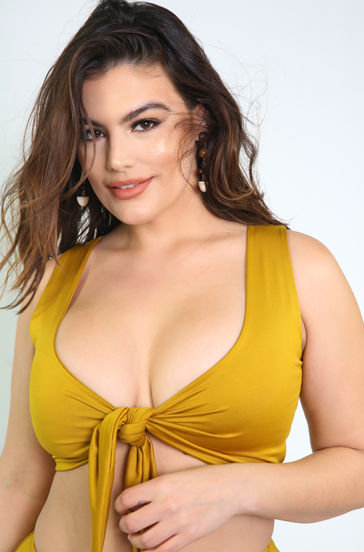 Mustard Tie Swimsuit Top Plus Size