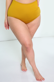 Mustard High Waisted Swimsuit Bottoms Plus Sizes