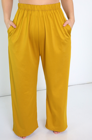 Mustard Palazzo Pant With Pockets Plus Sizes