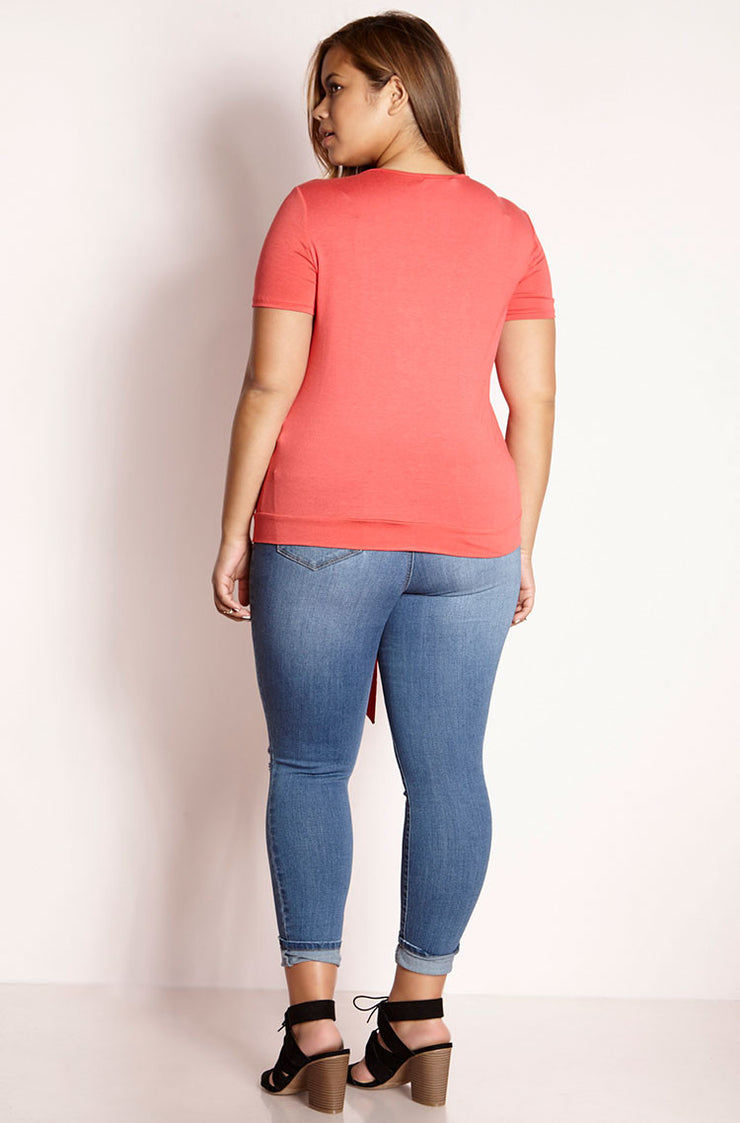 Coral Front Tied V-neck Top plus sizes