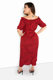 Red Over The Shoulder Maxi Dress Plus Size