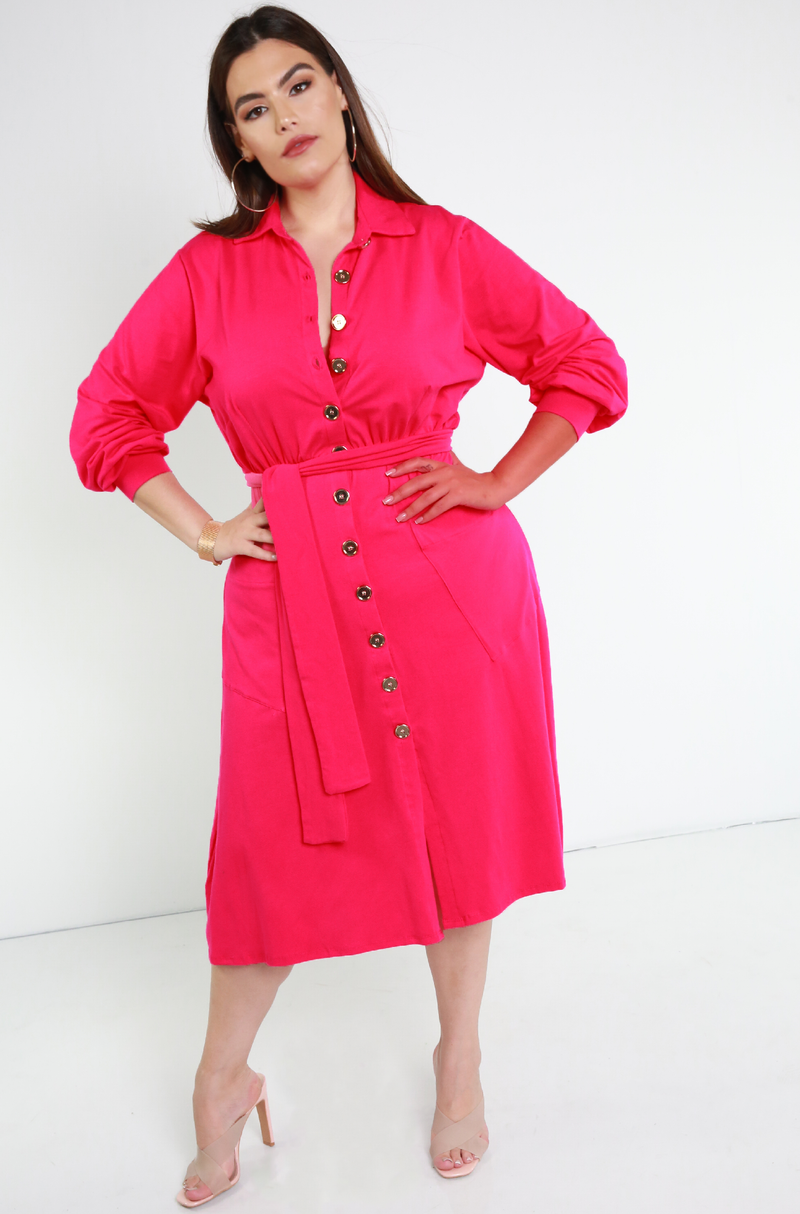 Fuchsia Button Down A-Line Midi Dress Plus Sizes