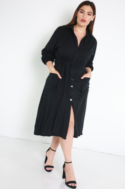 Black Button Down A-Line Midi Dress Plus Sizes