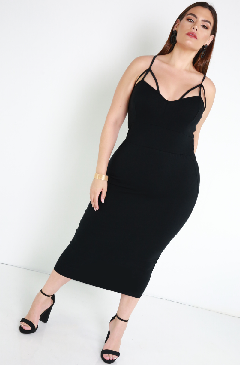 "Rebdolls ""Real Thing"" Cotton Caged Bodycon Midi Dress"