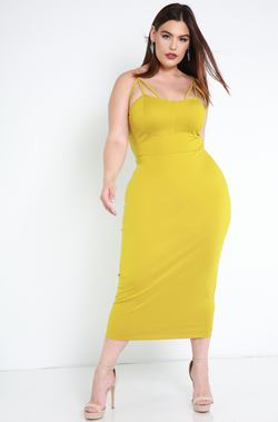 Chartreuse Caged Bodycon Midi Dress Plus Sizes