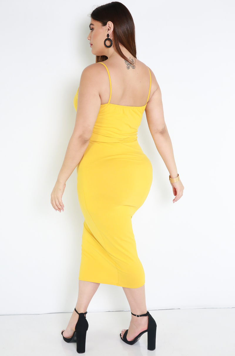 Mustard Caged Bodycon Midi Dress Plus Sizes