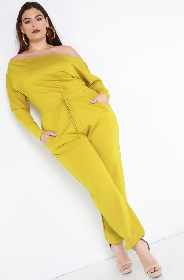 Chartreuse Over The Shoulder Jogger Jumpsuit Plus Sizes