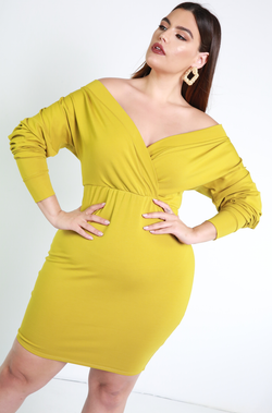 Chartreuse Over The Shoulder Mini Dress Plus Sizes