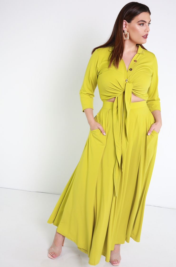 Chartreuse Pleated Maxi Skirt With Pockets Plus Sizes