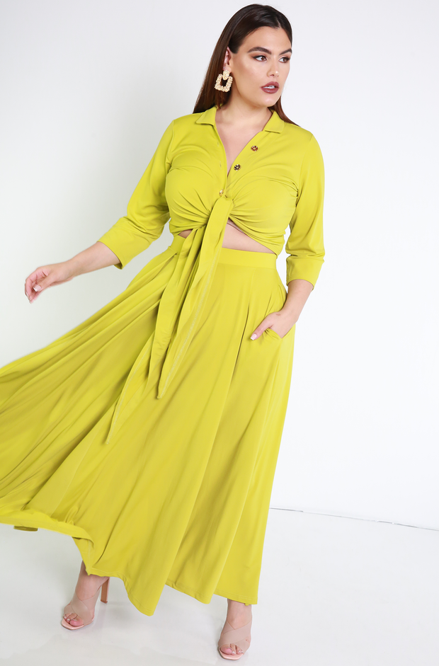 Chartreuse Button Down Front Tied Crop Top Plus Sizes