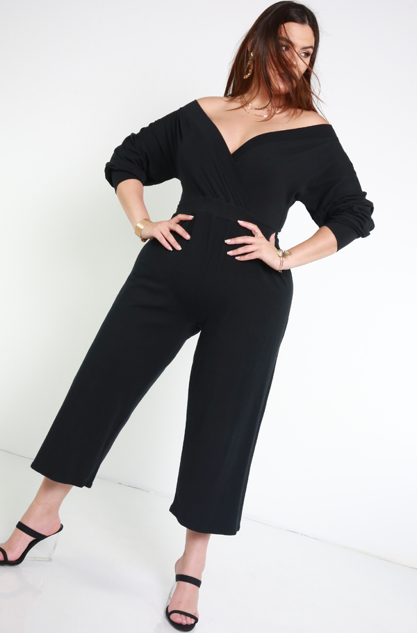 Black Over The Shoulder Wide Leg Cropped Jumpsuit Plus Sizes