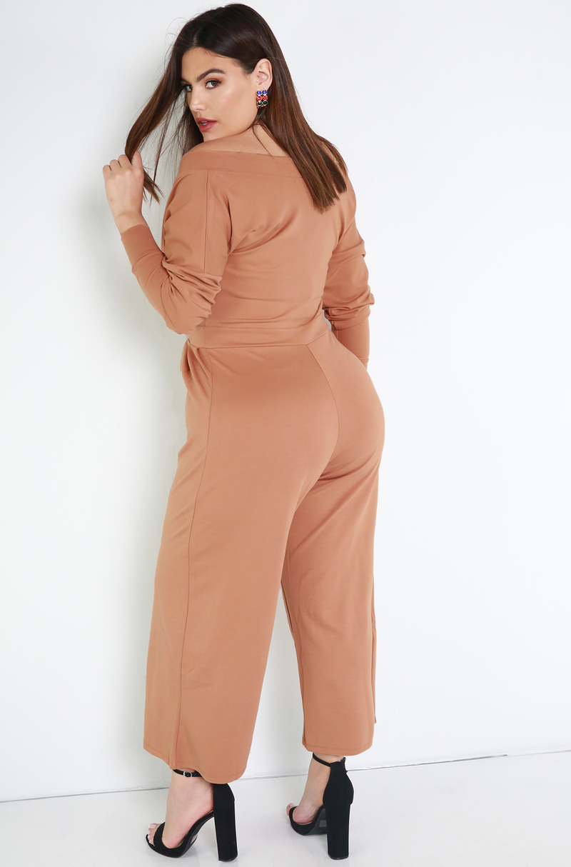 Copper Over The Shoulder Wide Leg Cropped Jumper