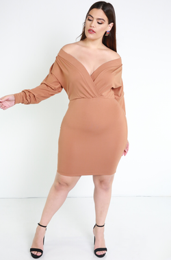 Copper Over The Shoulder Mini Dress Plus Sizes