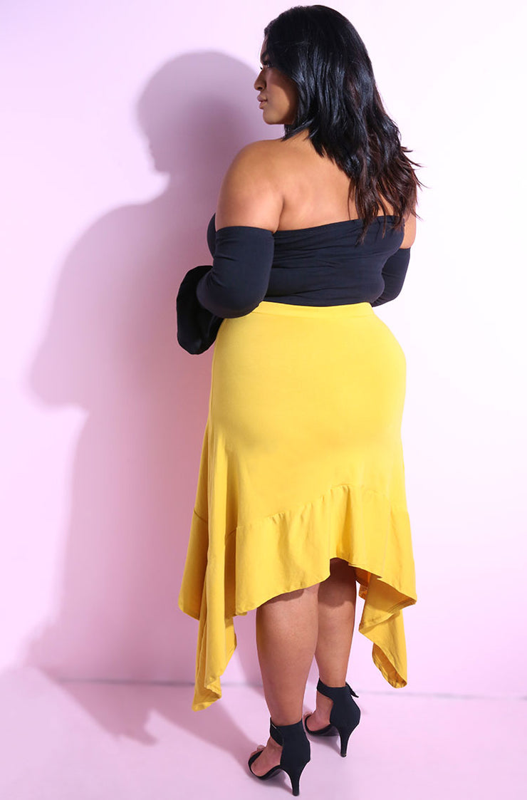 Mustard Asymmetrical A-Line Skirt Plus Sizes